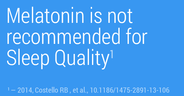 Melatonin is not recommended for Sleep Quality