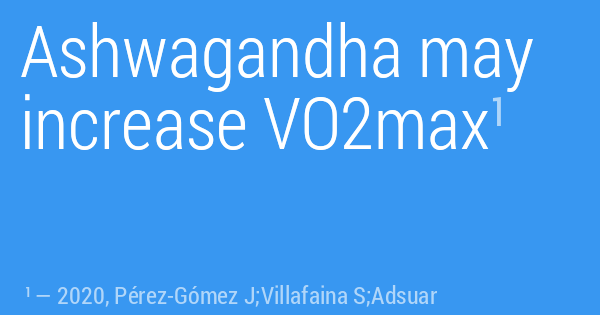 Ashwagandha may increase VO2max