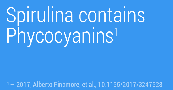 Spirulina contains Phycocyanins